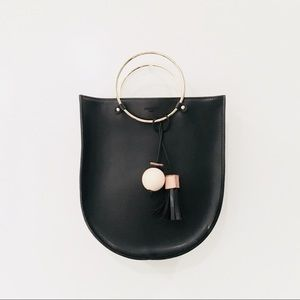 Handbags - LEATHER RING HANDLE SHOULDER HANDBAG TASSEL ACCENT